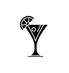 martini black icon sign on isolated vector image