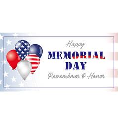 memory day usa flag balloons banner vector image
