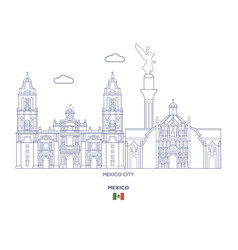 Mexico linear city skyline vector