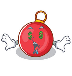 Money eye christmas ball character cartoon vector