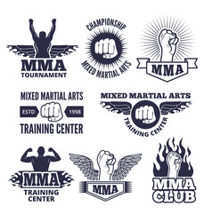 monochrome sport labels for mma fighters vector image
