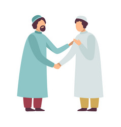 Muslim men in traditional clothing greeting each vector