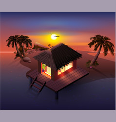 night tropical island palm trees and shack on vector image