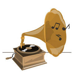 Old gramophone twists vinyl plays music vector
