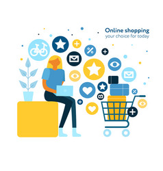 online shopping flat composition vector image
