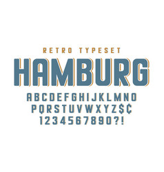 original condensed retro alphabet creative vector image