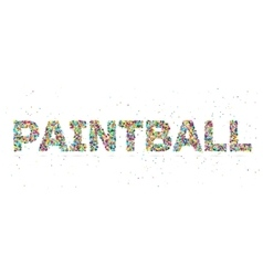 Painball word consisting of colored particles vector