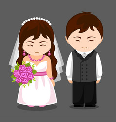 pretty newlywed couple vector image