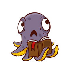 Purple octopus with sad face holding book in vector