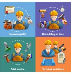 Remodeling service 4 flat icons square vector
