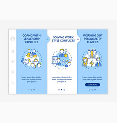 Resolving team conflicts onboarding template vector