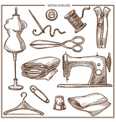 Retro atelier or dressmaker tailor salon equipment vector