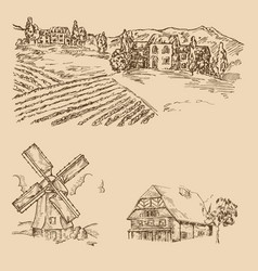 Rural landscape hand drawn vineyard farm house vector
