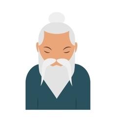 Sage elder yoga pranayama old Hindu man vector