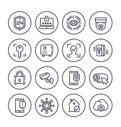 security line icons set on white vector image
