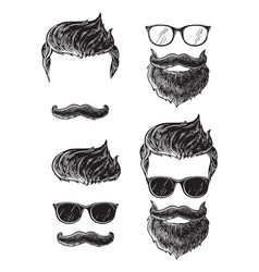 set bearded men faces hipsters with different vector image