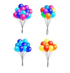 set bunches helium colorful air balloons isolated vector image