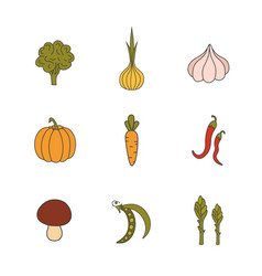 set hand drawn vegetables handdrawn elements for vector image