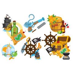 Set on the theme of pirates fairy-tale cartoon vector