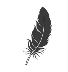 Silhouette feather icon vector