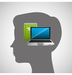 Silhouette head boy laptop book education online vector