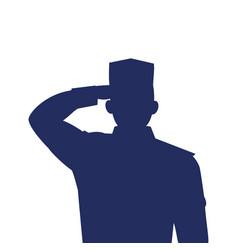 Silhouette man soldier war on white vector