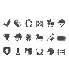 silhouettes equestrian sport symbols racing vector image