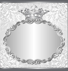 Silver background with royal frame vector