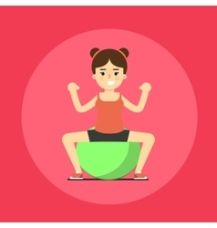Smiling fitness girl doing exercise vector image