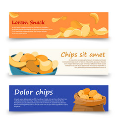 snack banners template with potato chips vector image