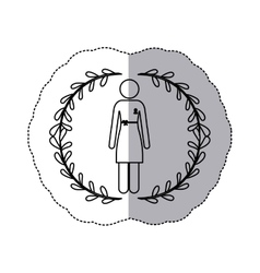 Sticker silhouette woman with dress with ribbon of vector