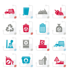 stylized garbage cleaning and rubbish icons vector image