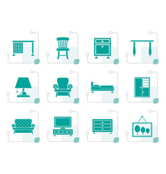 stylized home equipment and furniture icons vector image