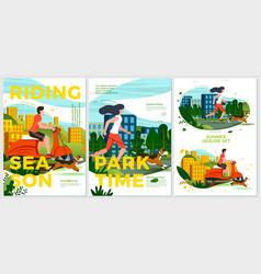 summer sport posters set motorbike rolling vector image