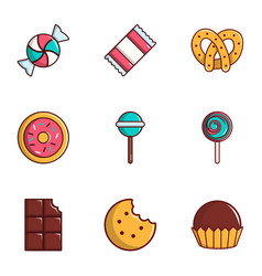 Sweets icons set flat style vector