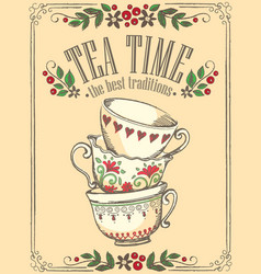 Tea time with cute cups freehand drawing sketch vector