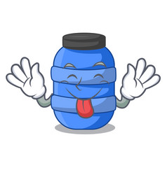 Tongue out plastic barrel container for fish vector