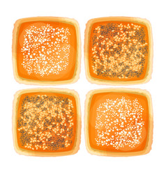 Top view on bread with sesame poppy and flour vector
