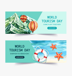 Tourism day banner design with nature mountain vector