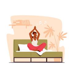 Tranquil woman meditating sit in lotus posture vector