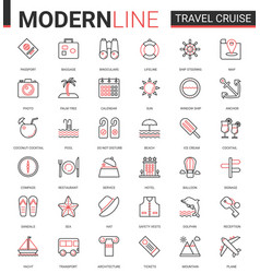 travel cruise thin red black line icon vector image