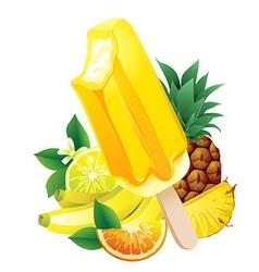 Tropical fruits banana pineapple orange lemon vector