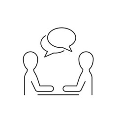 two men discussion line icon on white background vector image