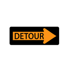 Usa traffic road signs detour to the right vector