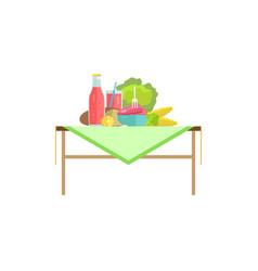 Vegetables meat steak and sweet soda on table vector