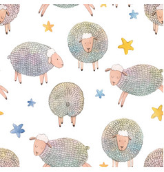 Watercolor sheep pattern vector