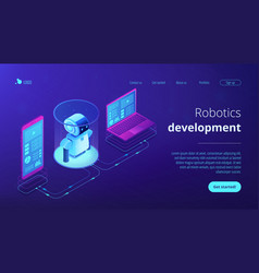 wifi controlled robotics isometric3d landing page vector image