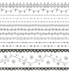 Winter hand drawn seamless borders vector image