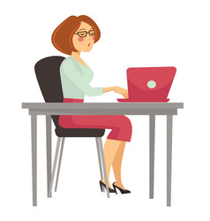 woman at work laptop on desk isolated female vector image