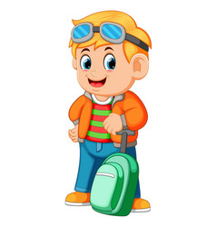 young man holding travel bag and using glasess vector image
